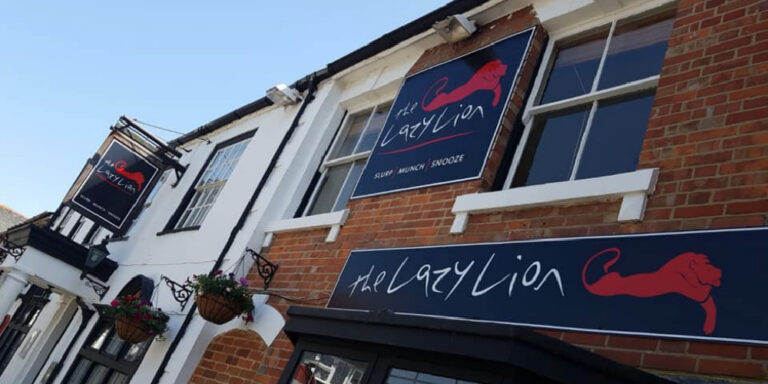Visit Milford on Sea outside the Lazy Lion