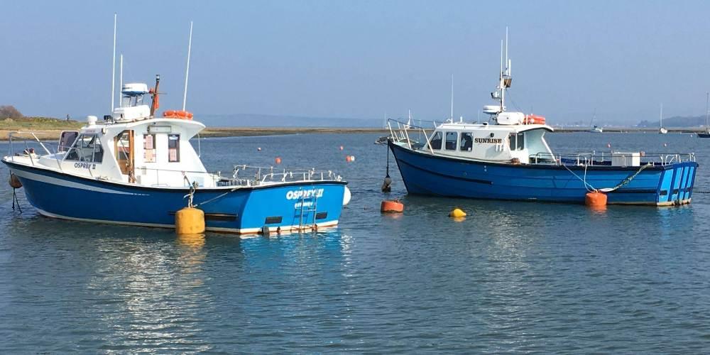 Visit Milford on Sea fishing boats at Keyhaven
